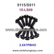 XinleHong Toys 9115 S911 Parts Round Headed Screw 15-LS09 (2.6X7PBHO) -10PCS