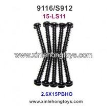XinleHong Toys 9116 S912 rc truck Parts Round Headed Screw 15-LS11 (2.6X15PBHO) -10PCS