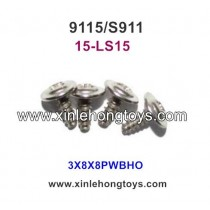 XinleHong Toys 9115 S911 Parts Round Headed Screw 15-LS15 (3X8X8PWBHO) -4PCS