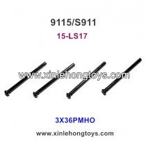 XinleHong Toys 9115 S911 Spare Parts Round Headed Screw 15-LS17 (3X36PMHO)-4PCS