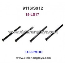 XinleHong Toys 9116 S912 Parts Round Headed Screw 15-LS17 (3X36PMHO) -4PCS