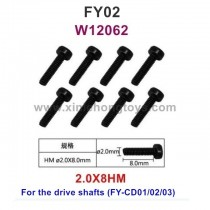Feiyue FY02 Parts 2.0X8HM Hexagonal Cup Head Screws W12062
