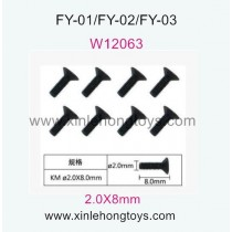 Feiyue FY01 Parts Hexagon head screws W12063 (2.0X8mm) -8pcs