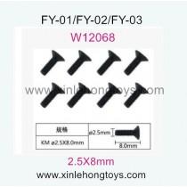 Feiyue FY03 Parts Hexagon Flat head machine Screws W12068 (2.5X8mm)-8pcs
