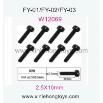 Feiyue FY01 Parts Hexagon Cup head machine Screws W12069 (2.5X10mm)-8pcs