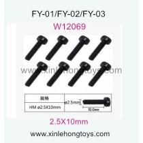 Feiyue FY03 Parts Hexagon Cup head machine Screws W12069 (2.5X10mm)-8pcs