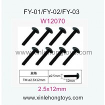 Feiyue FY01 Parts Hexagon T head machine Screws W12070 (2.5x12mm)-8pcs