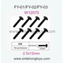 Feiyue FY03 Parts Hexagon T head machine Screws W12070 (2.5x12mm)-8pcs