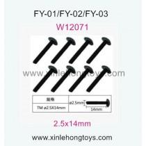 Feiyue FY01 Spare Parts Hexagon T head machine Screws W12071(2.5x14mm)-8pcs