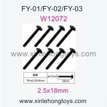 Feiyue FY03 Eagle-3 Parts T head machine Screws W12072(2.5x18mm)-8pcs